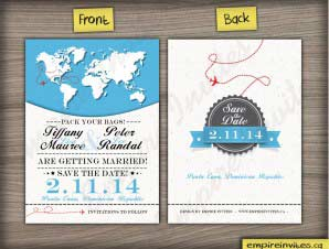 World Map Destination Save The Date Cards (vert)