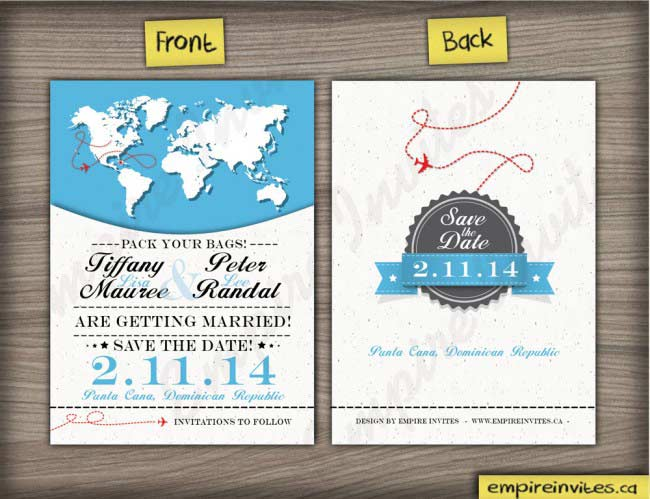 world map destination save the date cards
